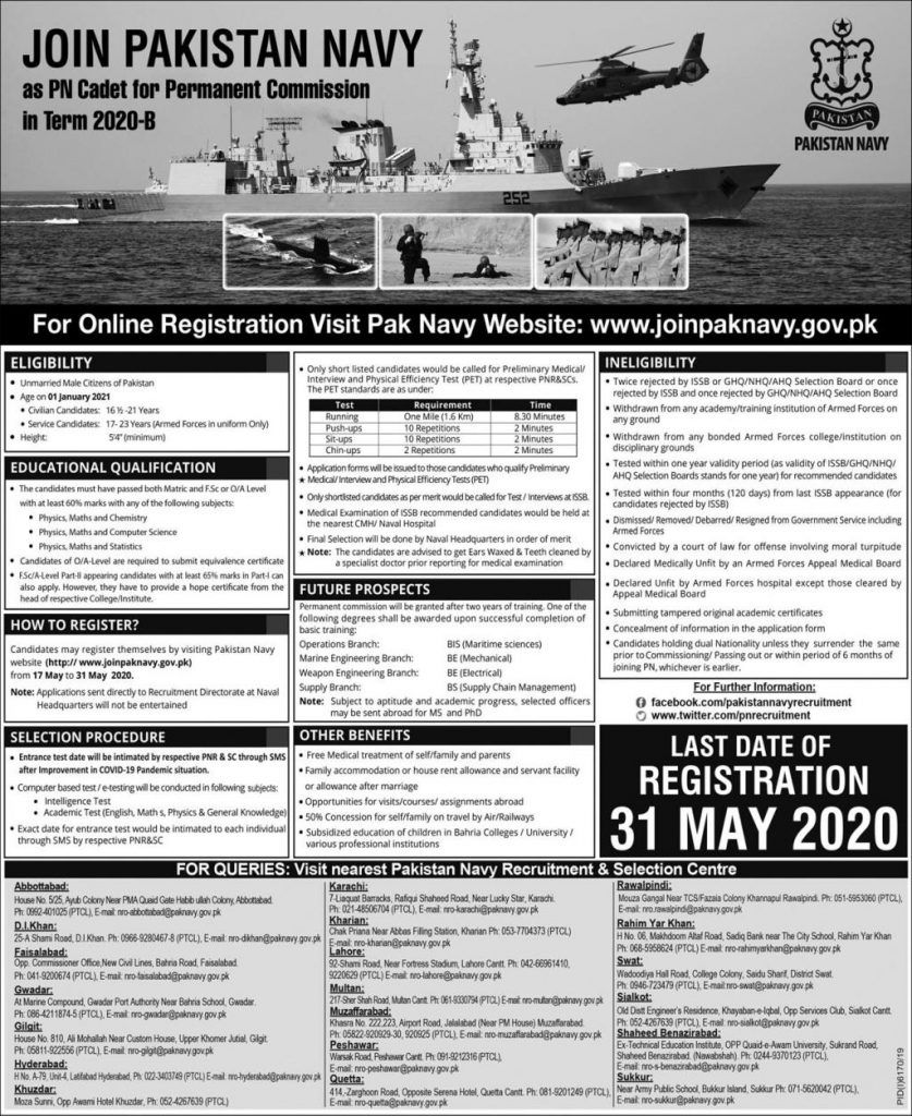 Pakistan Navy - PN Cadet for Permanent Commission in Term 2020-B Ad